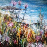 Aliums on the SW Coast Path (mixed media on board) 50x50cm