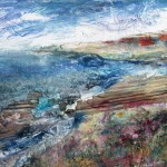 Approaching Newton Ferrers (mixed media on board) 50x50cm