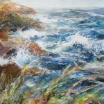 Autumn at Hope Cove (mixed media on board) 90x60cm