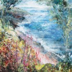 High summer Blackpool Sands (mixed media on board) 60x40cm