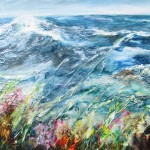 High winds on the SW Coast Path (mixed media on board) 60x90cm