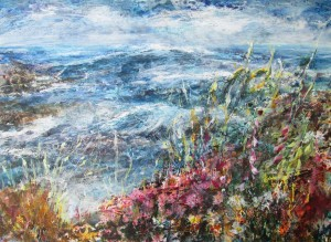 Thrift and gorse near St-Agnes (mixed media on board) 90x60cm