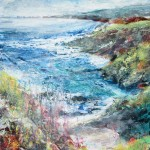 Walking west from Burgh Island (mixed media on board) 80x55cm